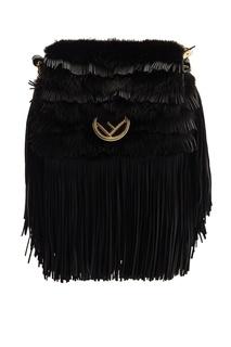 Черная сумка с мехом норки Fendi