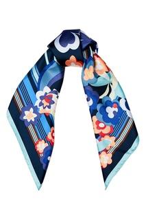 Голубой платок из шелка с принтом Fendi