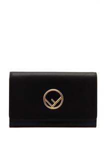 Черная сумка с золотистым логотипом Fendi