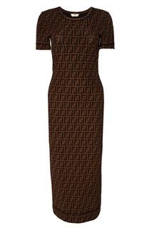 Платье с монограммами Fendi