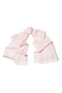 Розовый палантин с белым кружевом Levveronika