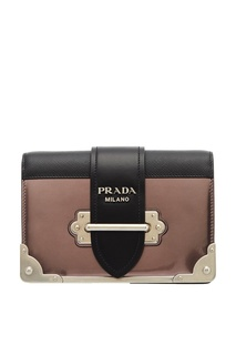 Серебристая кожаная сумка Cahier Prada