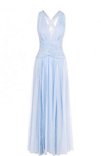 Однотонное шелковое платье-макси с кружевными вставками Zuhair Murad