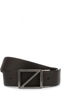 Кожаный ремень с металлической пряжкой Z Zegna