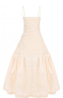 Однотонное платье-миди из смеси хлопка и льна Jacquemus