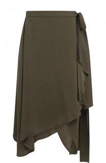 Однотонная шелковая юбка асимметричного кроя с оборками J.W. Anderson