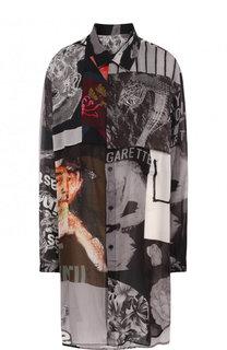 Удлиненная блуза свободного кроя с принтом Yohji Yamamoto