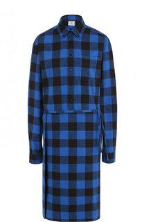 Хлопковое платье-рубашка в клетку Vetements