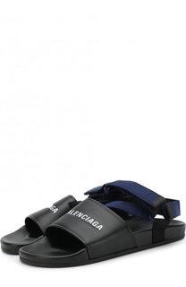 Кожаные сандалии с логотипом бренда Balenciaga