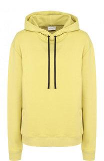 Однотонный хлопковый пуловер с капюшоном Saint Laurent