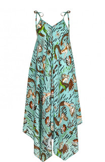 Платье-миди асимметричного кроя с принтом Loewe