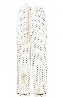 Укороченные льняные брюки с принтом Loewe