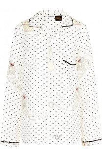 Льняная блуза с накладным карманом и принтом Loewe