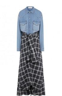 Клетчатое платье в комплекте с джинсовой рубашкой и шортами Faith Connexion