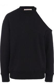 Однотонный хлопковый пуловер с открытым плечом Christopher Kane