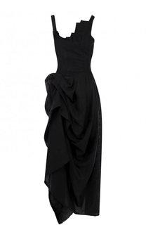 Льняное платье-макси асимметричного кроя Isabel Benenato