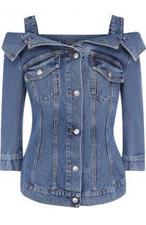 Джинсовая куртка с потертостями Alexander McQueen