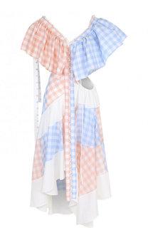 Платье-миди с V-образным вырезом и оборками Loewe
