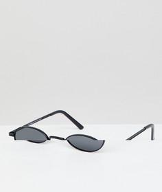 Круглые солнцезащитные очки в черной металлической оправе AJ Morgan - Черный