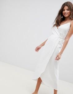 Льняное платье макси с запахом ASOS DESIGN - Белый