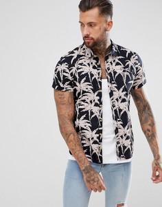 Рубашка с короткими рукавами и пальмовым принтом Blend - Черный