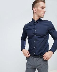Темно-синяя поплиновая рубашка классического кроя New Look - Темно-синий