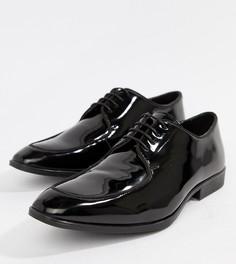 Черные лакированные кожаные туфли на шнуровке для широкой стопы ASOS DESIGN - Черный