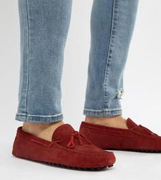 Красные замшевые мокасины для широкой стопы с завязками ASOS DESIGN - Красный