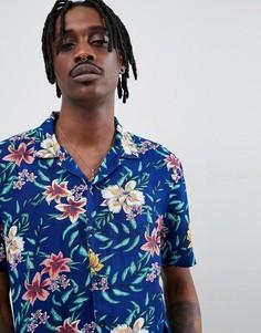 Рубашка с короткими рукавами и тропическим принтом Brooklyn Supply Co. - Черный