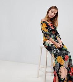 Платье макси с открытыми плечами, разрезом и цветочным принтом Glamorous Petite - Черный