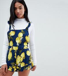 Ромпер-шорты с оборками и принтом лимонов Glamorous Petite - Синий