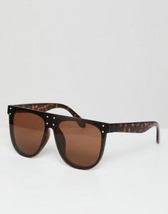 Солнцезащитные очки-авиаторы в черепаховой оправе AJ Morgan - Коричневый