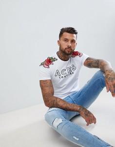 Обтягивающая футболка с розами Aces Couture - Белый