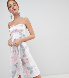Короткое приталенное платье для выпускного с цветочным принтом City Goddess Petite - Серый