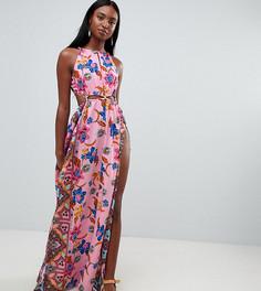 Пляжное платье макси с принтом пейсли и вырезом ASOS DESIGN tall - Мульти