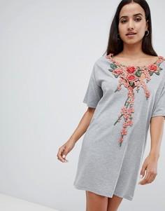 Платье-футболка с вышивкой розы ASOS DESIGN - Серый