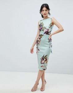Облегающее платье миди без рукавов с цветочным принтом и бантом сзади True Violet - Мульти