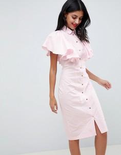 Платье-футляр с оборками на рукавах Closet London - Розовый
