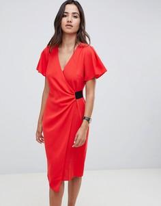 Платье-футляр миди с драпировкой и эластичной вставкой ASOS DESIGN - Красный