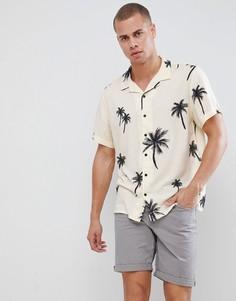 Светло-бежевая рубашка с отложным воротником и пальмовым принтом New Look - Кремовый