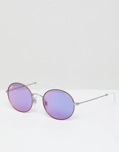 Круглые солнцезащитные очки с сиреневыми стеклами Ray-Ban - Серебряный