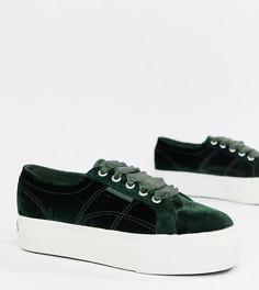 Зеленые велюровые кроссовки на платформе Superga - Зеленый