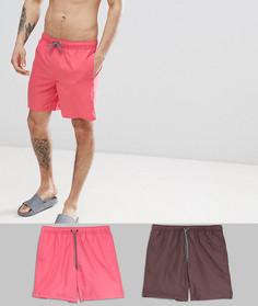 2 шортов для плавания средней длины (розовые/коричневые) ASOS DESIGN - Мульти