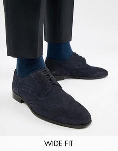 Темно-синие замшевые броги для широкой стопы KG By Kurt Geiger - Синий