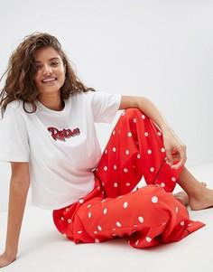 Пижамная футболка и широкие брюки ASOS DESIGN - Мульти