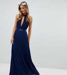 Плиссированное платье макси с перекрестной отделкой и бантом на спине TFNC Bridesmaid - Темно-синий