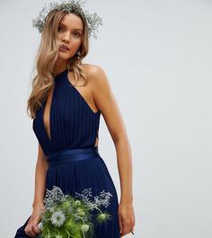 Плиссированное платье миди с перекрестной отделкой на спине TFNC - Темно-синий