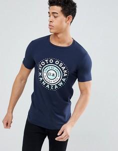 Обтягивающая футболка с надписью на японском ASOS DESIGN - Темно-синий