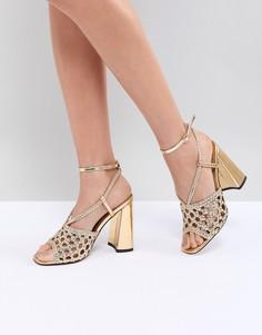 Босоножки на каблуке ASOS DESIGN Helix - Золотой