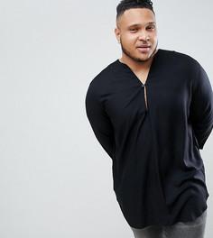 Черная удлиненная рубашка классического кроя из вискозы с V-образным вырезом ASOS DESIGN Plus - Черный
